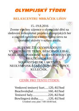 olympijský týden - MRKÁČEK RELAXCENTRUM LIŠOV