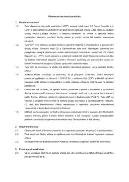 Všeobecné obchodní podmínky služby O2 eKasa