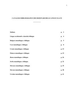 CATALOGO BIBLIOGRAFICO DEI DIZIONARI DELLE LINGUE SLAVE
