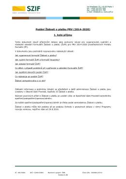 Podání Žádosti o platbu PRV (2014