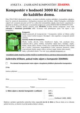 Anketa - zahradní kompostéry ZDARMA.