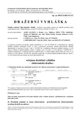 Dražební vyhláška - SIMUS,s.r.o., JIŘÍ SIHELSKÝ