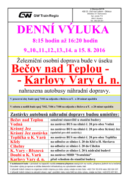 DENNÍ VÝLUKA .- Karlovy Vary d. n. Bečov nad Teplou -