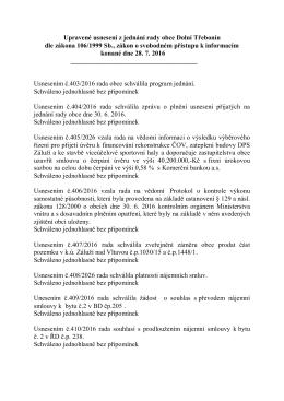 Usnesení z jednání rady obce Dolní Třebonín konané dne 28. 7. 2016