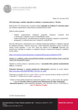 Stipendia na studium a výzkumné pobyty v Mexiku