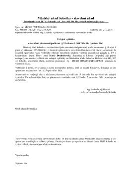 Veřejná vyhláška o doručení písemnosti - Drahoňovská