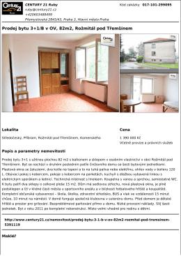 Prodej bytu 3+1/B v OV, 82m2, Rožmitál pod Třemšínem