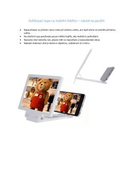 Zvětšovací lupa na mobilní telefon – návod na použití