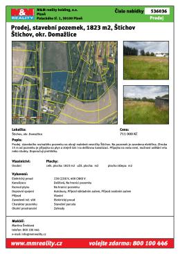 Prodej, stavební pozemek, 1823 m2, Štíchov Štichov, okr. Domažlice