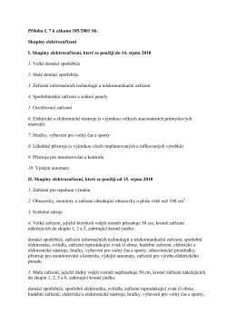 Příloha č. 7 k zákonu 185/2001 Sb. Skupiny elektrozařízení I
