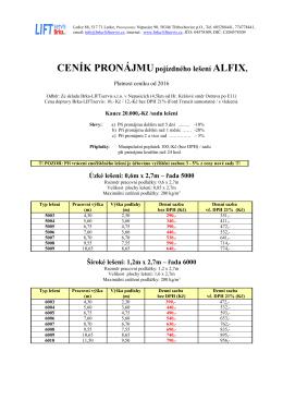 CENÍK PRONÁJMUpojízdného lešení ALFIX - Brka