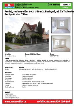 Prodej, rodinný dům 6+2, 160 m2, Bechyně, ul. Za Trubným