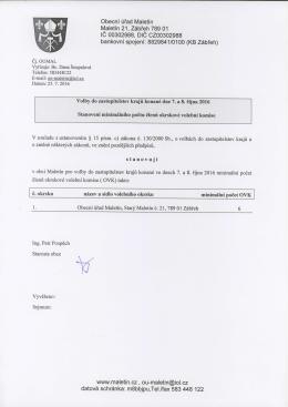 Stanovení minimálního počtu členů okrskové volební komise