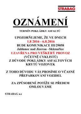 uzavírka silnice sklenařice - Město Jablonec nad Jizerou