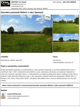 Stavební pozemek 803m2 v obci Spomyšl