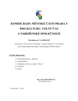 komise rady městské části praha 4 pro kulturu, volný čas a