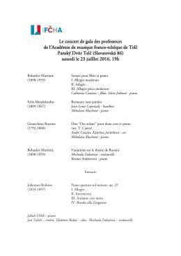 Le concert de gala des professeurs de l`Académie de musique