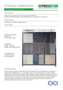 Popis výstavky Rozměr stojanu Vzorky dlažeb