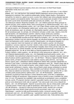 PORADENSKÉ FÓRUM - BAZÉNY - SAUNY - INFRASAUNY - ZASTŘEŠENÍ