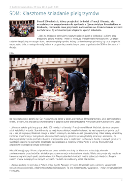 ŚDM: Klasztorne śniadanie pielgrzymów