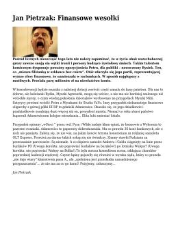 Jan Pietrzak: Finansowe wesołki