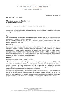 Odpowiedzi na pytania 26.07.2016 - Ministerstwo Edukacji Narodowej