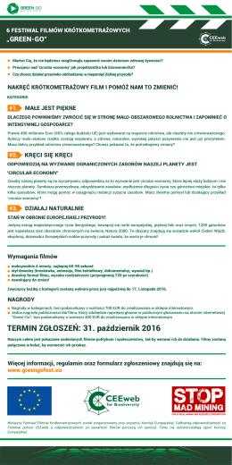 TERMIN ZGŁOSZEŃ: 31. październik 2016 - Green