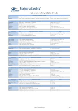 Spis serwisów firmy ELTERM 2016.06