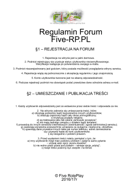 Regulamin Forum Five