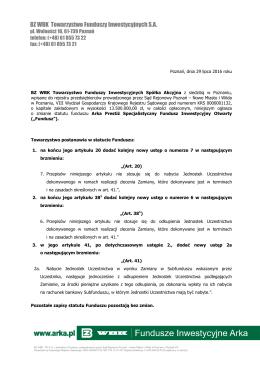 Ogłoszenie o zmianie Statutu Funduszu