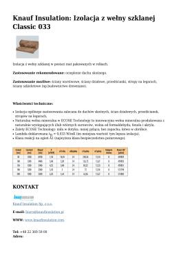 Knauf Insulation: Izolacja z wełny szklanej Classic 033