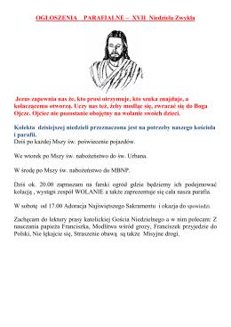 OGŁOSZENIA PARAFIALNE – IV Niedziela Wielkanocna