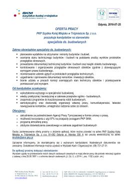 OFERTA PRACY specjalista ds. budowlanych - SKM