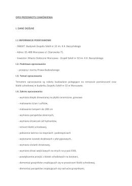 Opis przedmiotu zamówienia - Zespół Szkół nr 32 im. KK