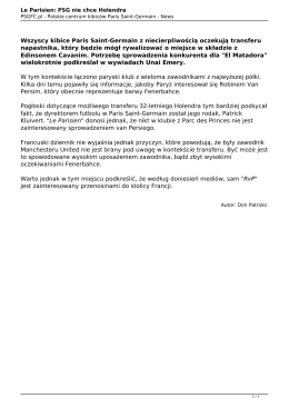 Le Parisien: PSG nie chce Holendra