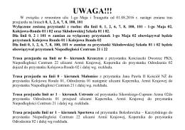 Komunikat remont u. 1-go Maja i Traugutta