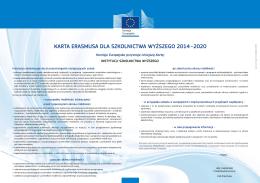 KARTA ERASMUSA DLA SZKOLNICTWA WYŻSZEGO 2014–2020