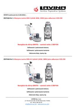 Maszyna Lavina 20X-E (silnik 3KW, 230V) plus