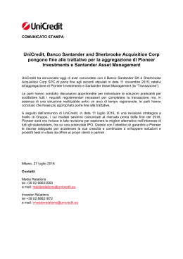 UniCredit, Banco Santander and Sherbrooke Acquisition Corp