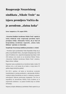 """na izjavu premijera Vučića da je aerodrom """"zlatna koka"""""""