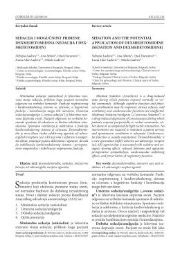 sedacija i mogućnost primene dexmedetomidina (sedacija i dex