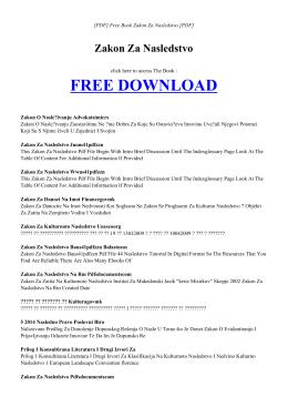 ZAKON ZA NASLEDSTVO Free PDF