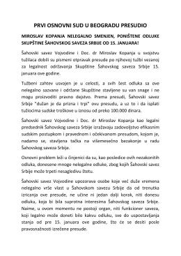 prvi osnovni sud u beogradu presudio miroslav kopanja nelegalno