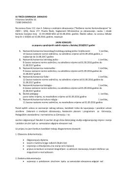 JU TREĆA GIMNAZIJA SARAJEVO Vilsonovo šetalište 16 71000