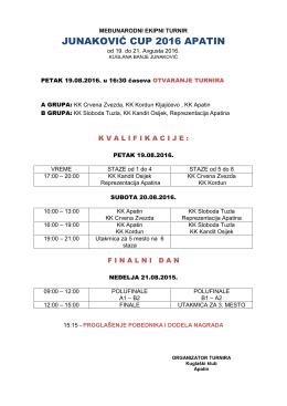 Raspored Junakovic Kup 2016