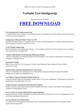 VERBALNI TEST INTELIGENCIJE Free PDF