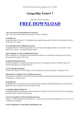 GEOGRAFIJA TESTOVI 7 | Free PDF