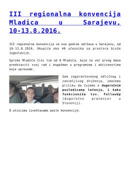 III regionalna konvencija Mladica u Sarajevu, 10