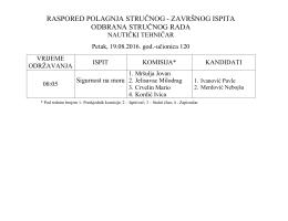 Odbrana stručnog rada - Pomorska škola – Kotor