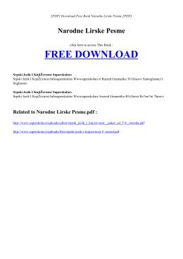 NARODNE LIRSKE PESME | Free PDF